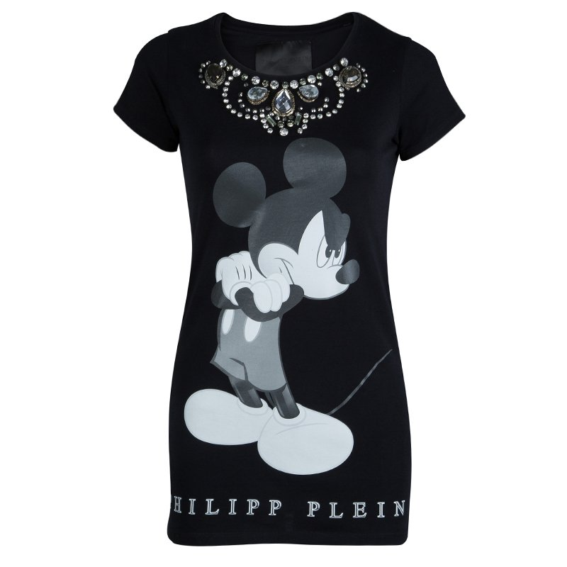 Buy Philipp Plein Couture Black Jersey Disney Print Embellished T ... 6baec98574f