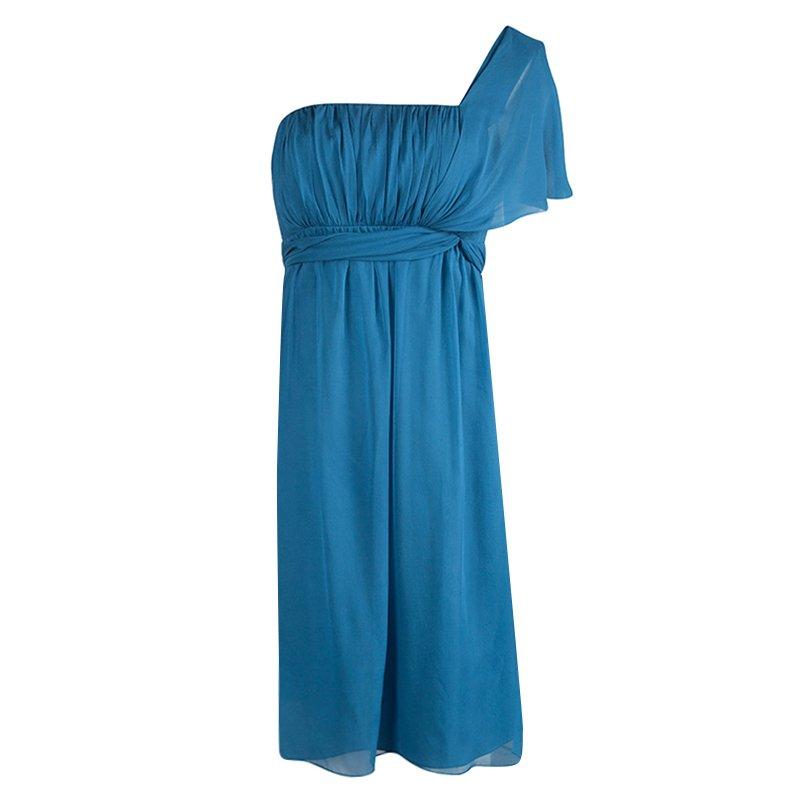 Philosophy Di Alberta Ferretti Blue Draped Silk One Shoulder Dress S