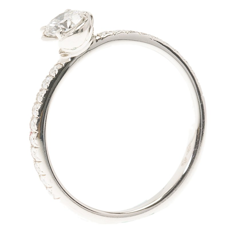 Piaget Rose 0.30ct Solitaire Diamond Platinum Ring Size 51