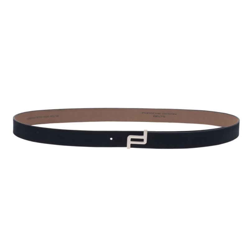 Porsche Design Dark Grey Leather Silver Logo Skinny Belt 95CM