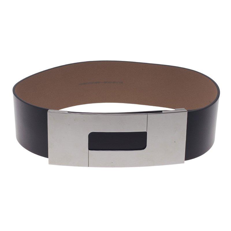 Porsche Design Black Leather Silver Logo Waist Belt 80CM