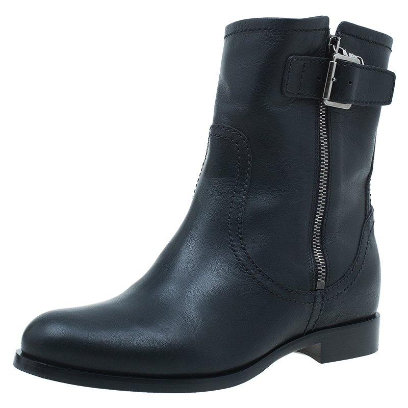 Prada Black Leather Zip Trimmed Ankle Boots Size 38