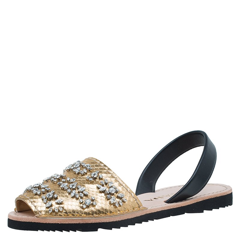 8a40015576e ... Prada Gold Jeweled Snake Embossed Leather Flat Slingback Sandals Size  38.5. nextprev. prevnext