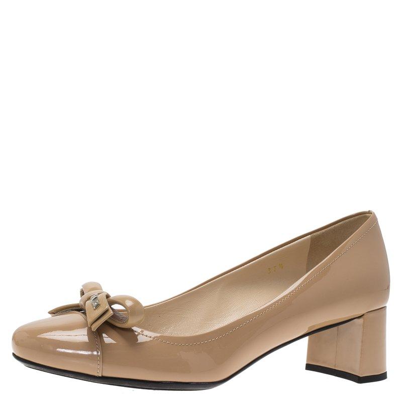 Prada Beige Patent Bow Block Heel Pumps Size 37.5