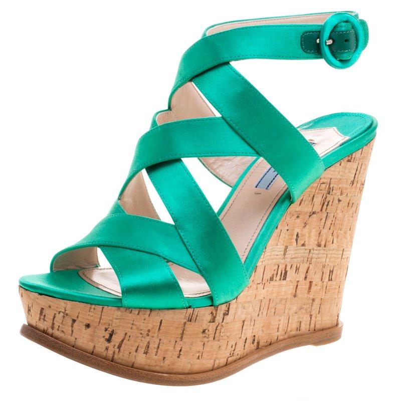3ad0b115cc73 Buy Prada Emerald Green Satin Criss Cross Cork Wedge Sandals Size 39 ...