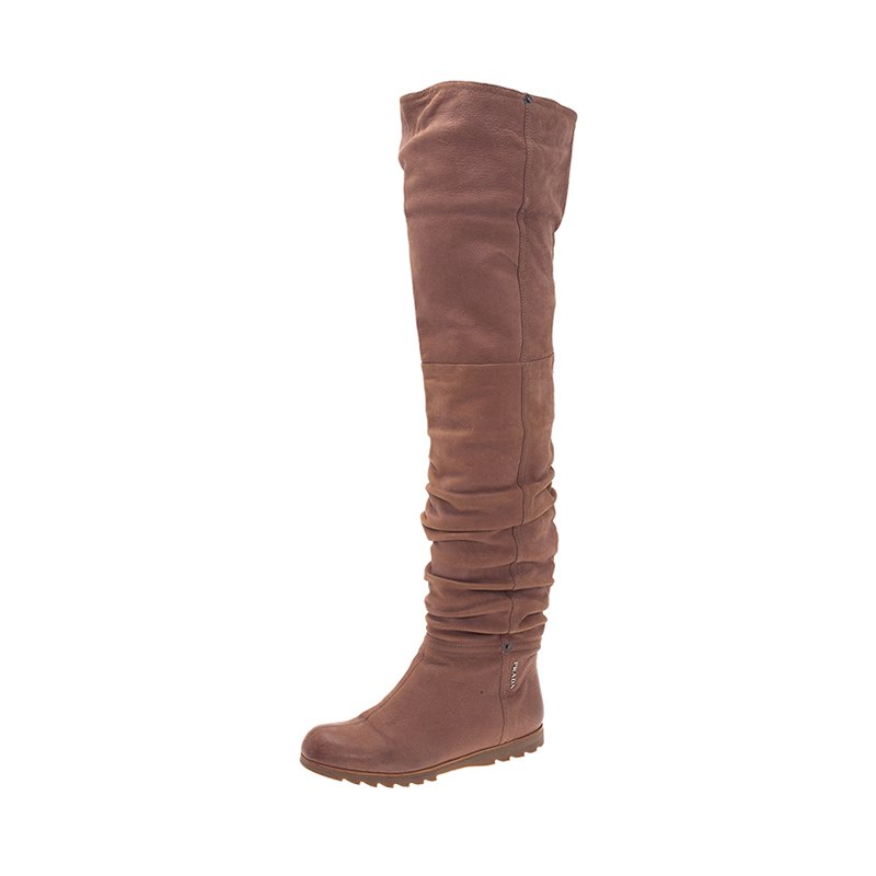 5fc606dd71e Buy Prada Sport Brown Leather Slouched Over The Knee Boots Size 37 ...