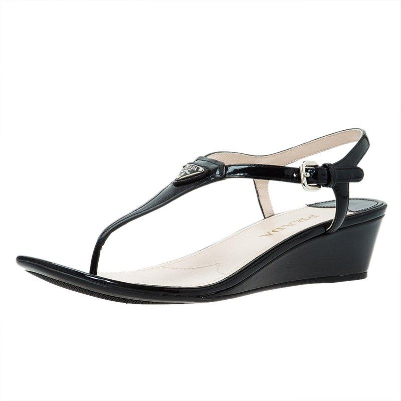 Prada Black Leather Logo Wedge Sandals Size 38.5