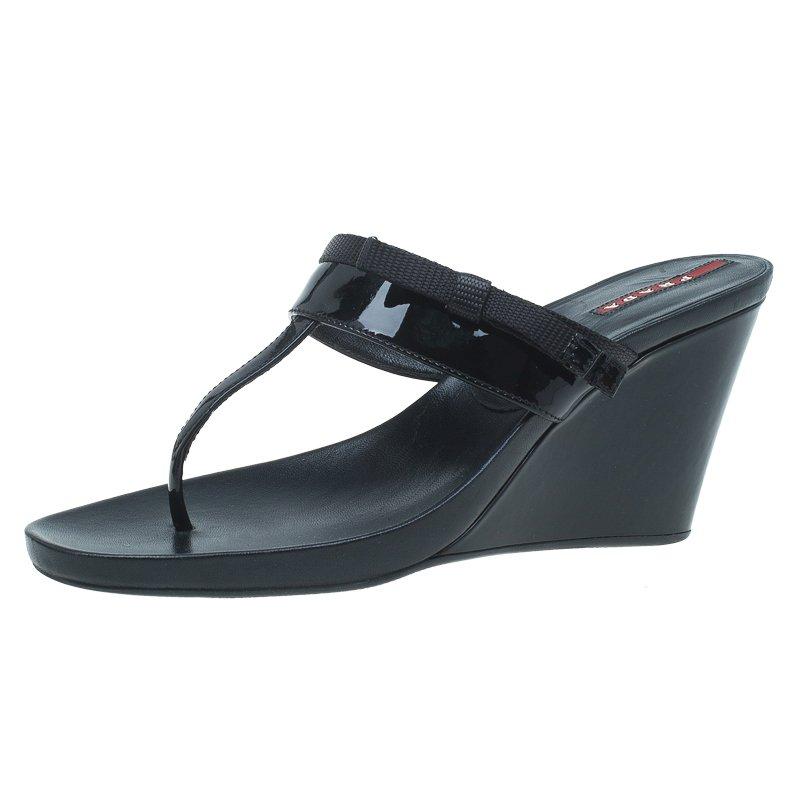 07df6fe43 ... Prada Sport Black Patent Leather Thong Wedge Sandals Size 40. nextprev.  prevnext