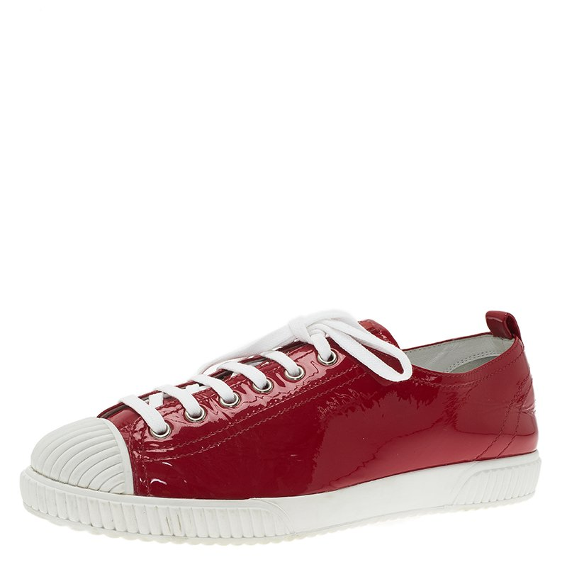 Prada Sport Red Patent Lace Up Sneakers