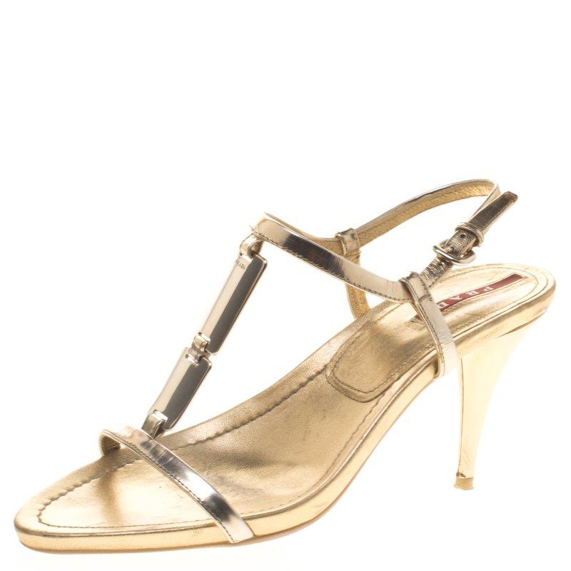 cf6eb539a ... Prada Sport Gold Metallic Leather T Strap Sandals Size 37.5. nextprev.  prevnext