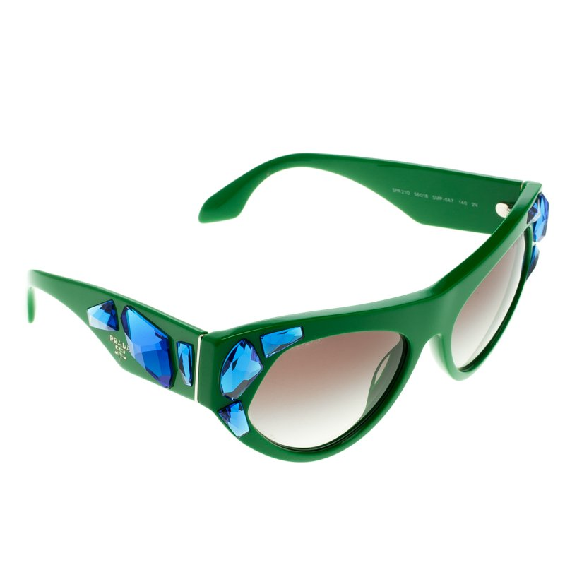 e8bcc94054d9 Buy Prada Green SPR 21Q Crystal Embellished Cat Eye Sunglasses ...