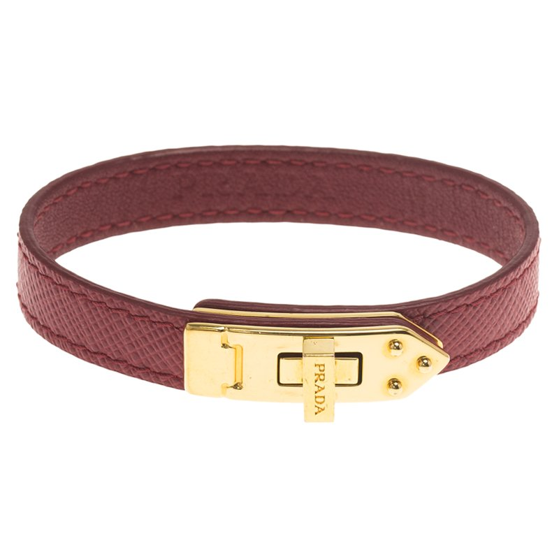 895609dd08ea Buy Prada Burgundy Gold Plated Leather Turn Lock Bracelet 62043 at ...