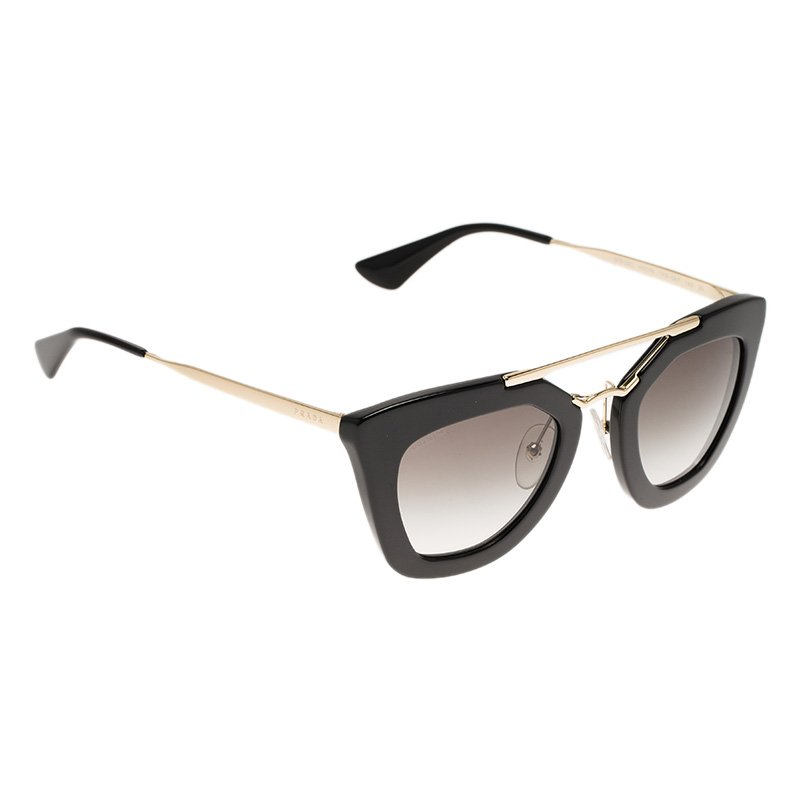 8611fde2d43a Buy Prada Black and Gold SPR 09Q Cat Eye Sunglasses 67812 at best price