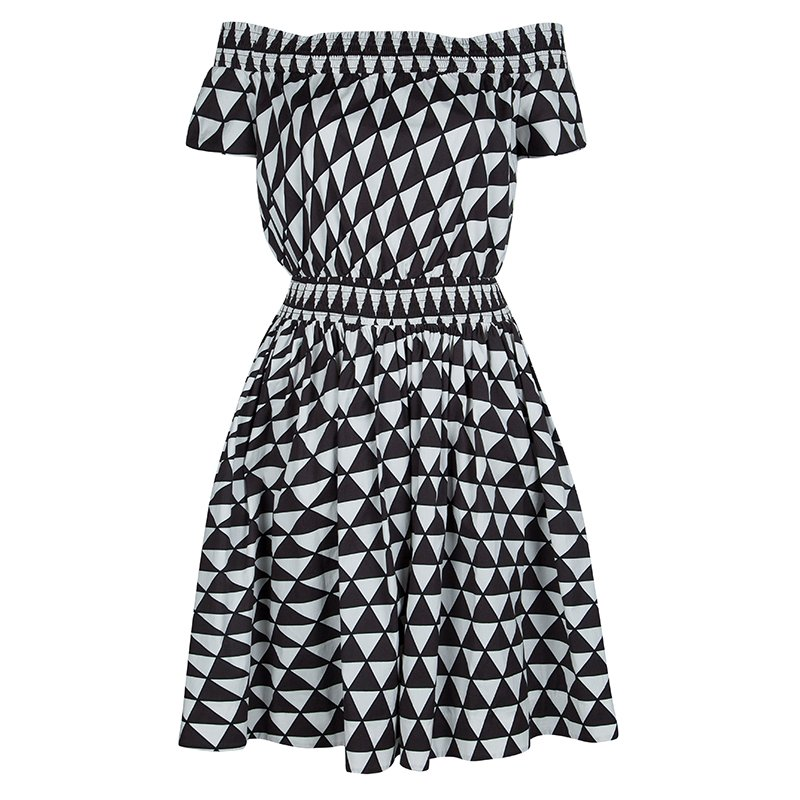 4e605eac4bcd ... Prada Brown and White Geometric Print Off Shoulder Cotton Dress L.  nextprev. prevnext