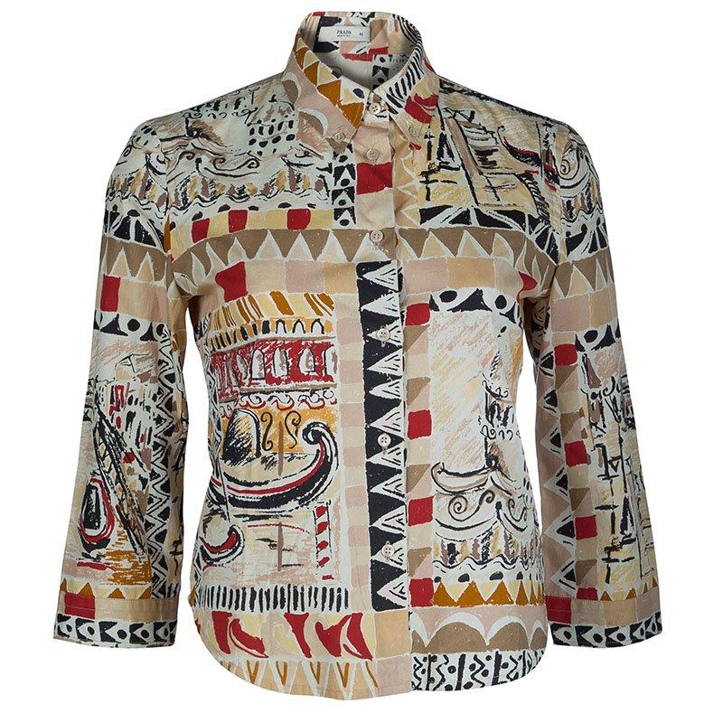 afd0c3849 Buy Prada Multicolor Printed Long Sleeve Buttondown Cotton Shirt M ...