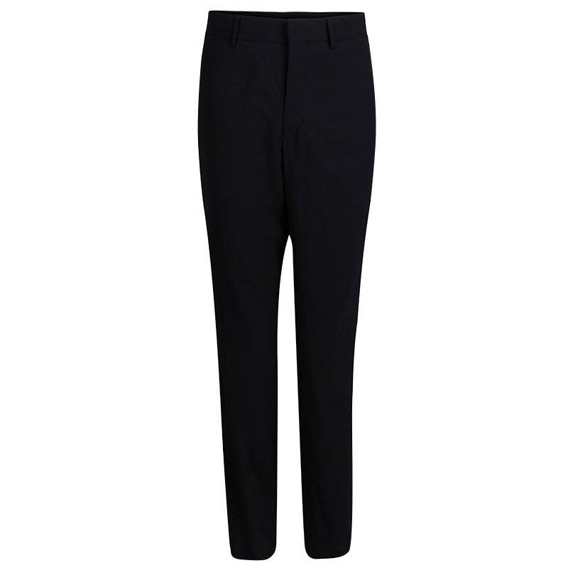 Prada Black High Waist Straight Fit Trousers L