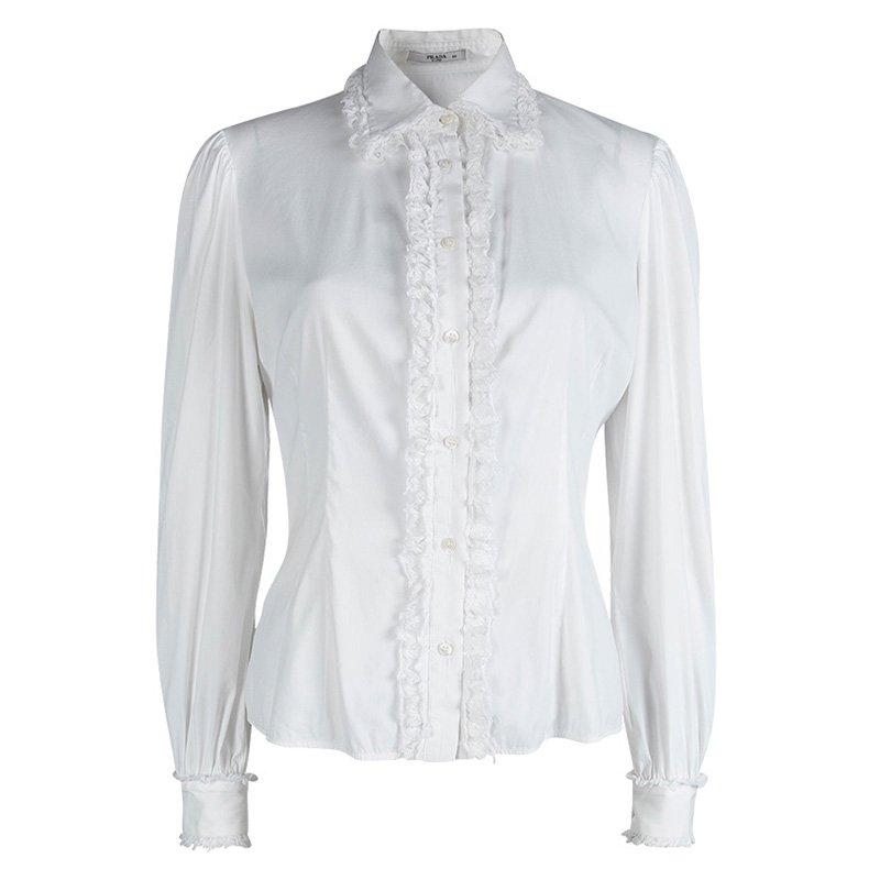 e5d5db179357cc ... Prada White Lace Ruffle Detail Long Sleeve Button Front Shirt M.  nextprev. prevnext
