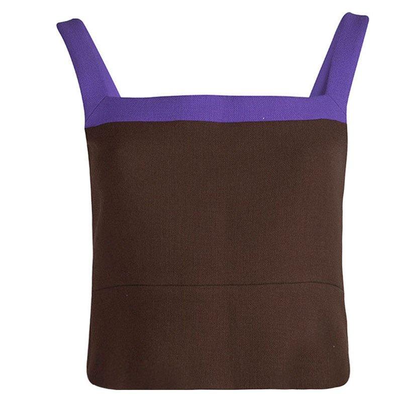 Prada Brown Textured Wool Contrast Strap Detail Cropped Top M