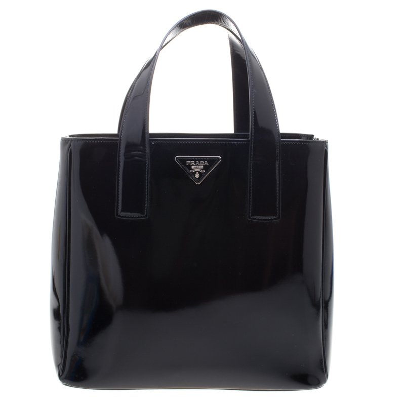 e6fe56ac8d71 Buy Prada Black Patent Leather Shopper Tote 100818 at best price