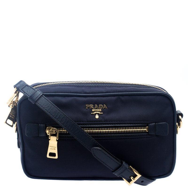 Buy Prada Navy Blue Nylon Crossbody Bag 102053 at best price