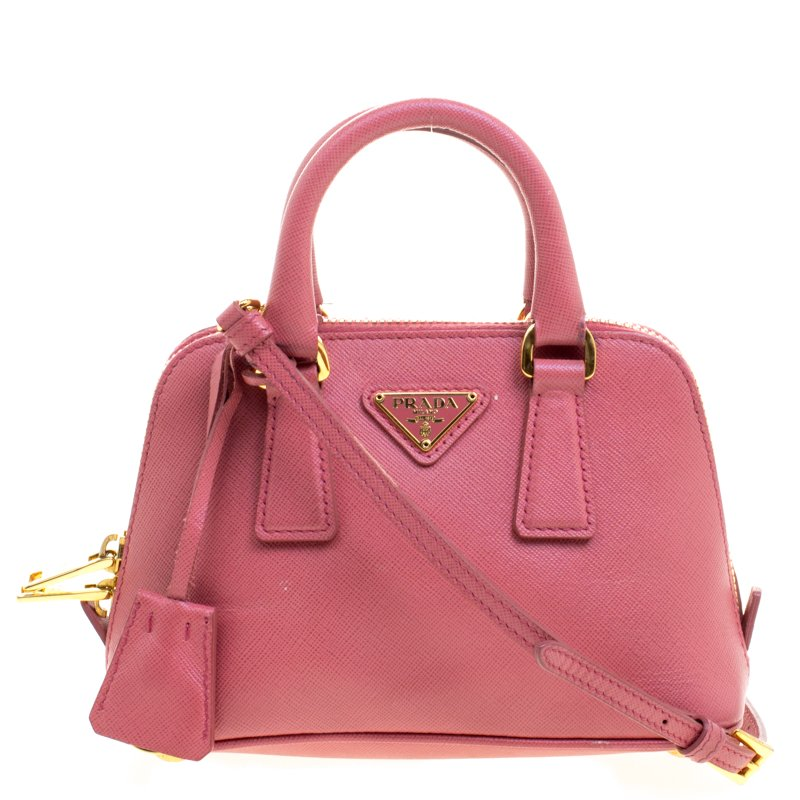 f7a58ca645fd ... Prada Pink Saffiano Lux Leather Mini Promenade Crossbody Bag. nextprev.  prevnext