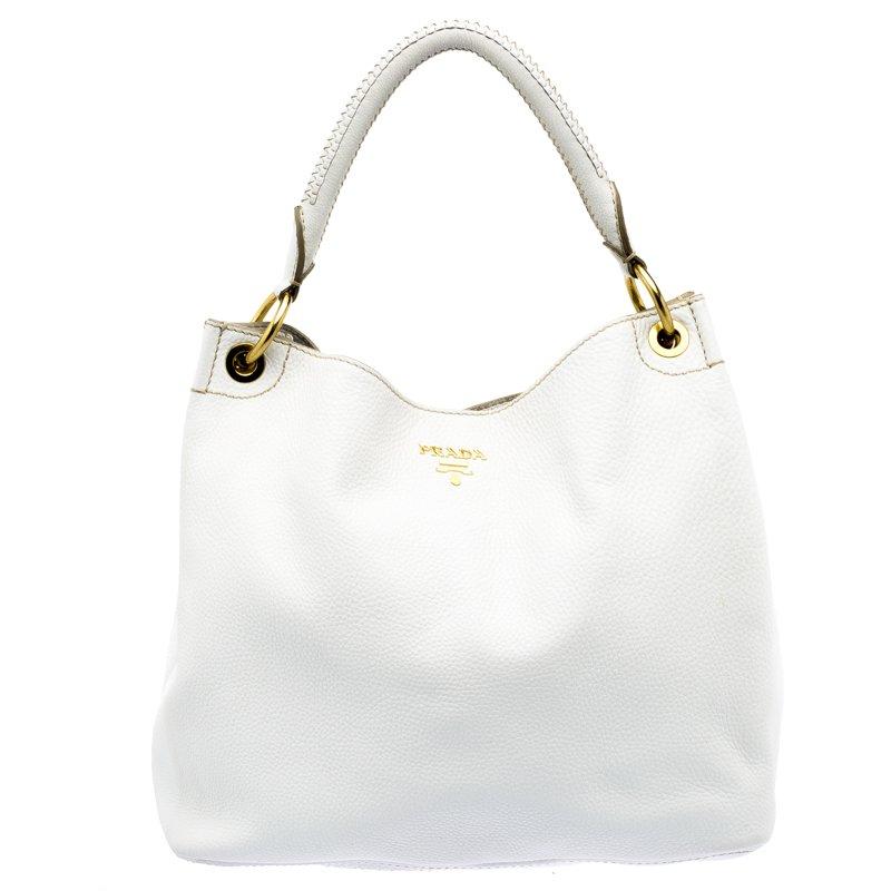 7bd3af8724a6 Buy Prada White Vitello Daino Leather Hobo 110255 at best price   TLC