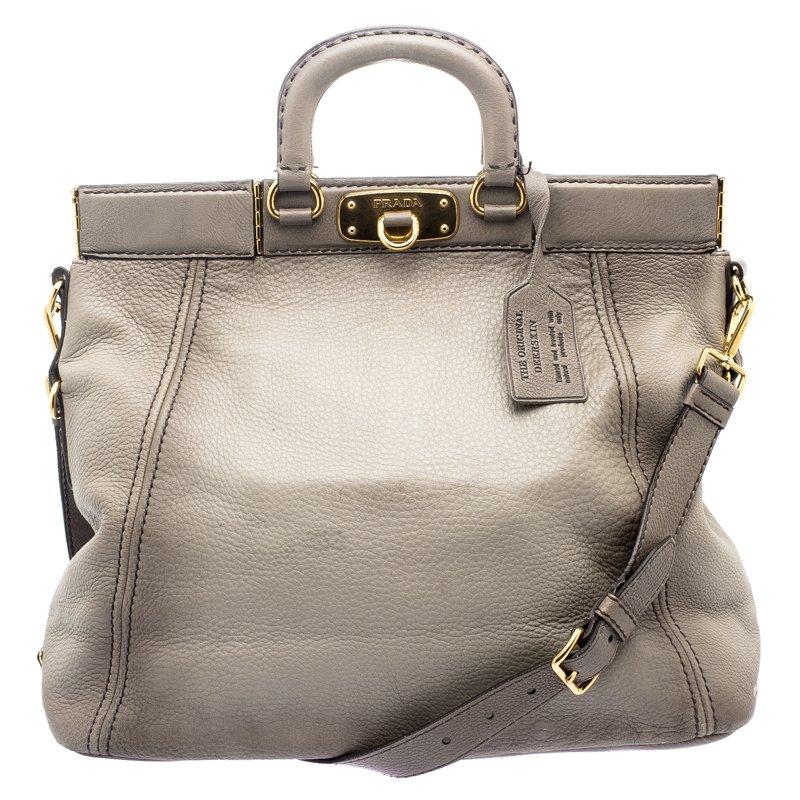 8da6fc41aa49 ... low price prada grey cervo leather frame tote. nextprev. prevnext f793e  e144d