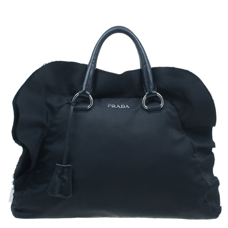 d5cd75a1af6e Buy Prada Black Tessuto Ruffle Trim Bowler Bag 13347 at best price
