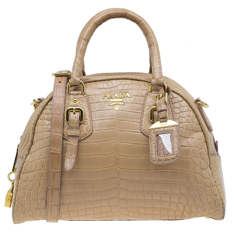 ee2dabef1e3e Buy Prada Brown Crocodile Leather Bowler Bag 39705 at best price | TLC