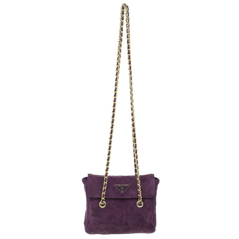 9e7b1a7b1740 ... Prada Purple Quilted Suede Vintage Shoulder Bag. nextprev. prevnext