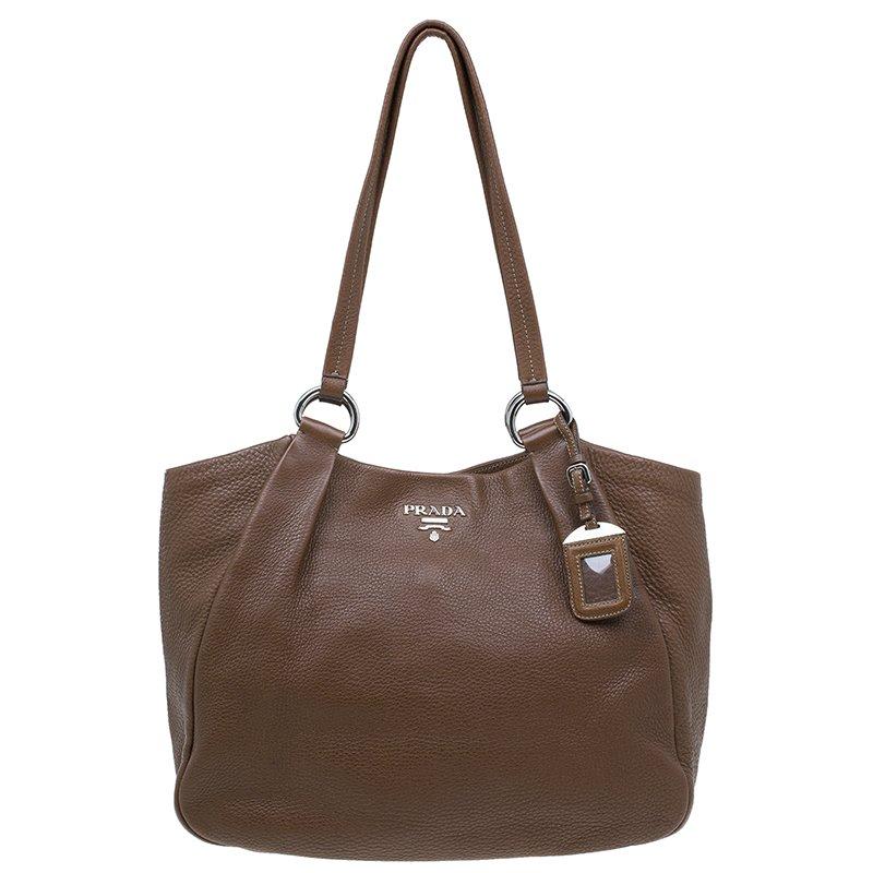 6f038679a992 Buy Prada Brown Leather Vitello Daino Tote Bag 41589 at best price