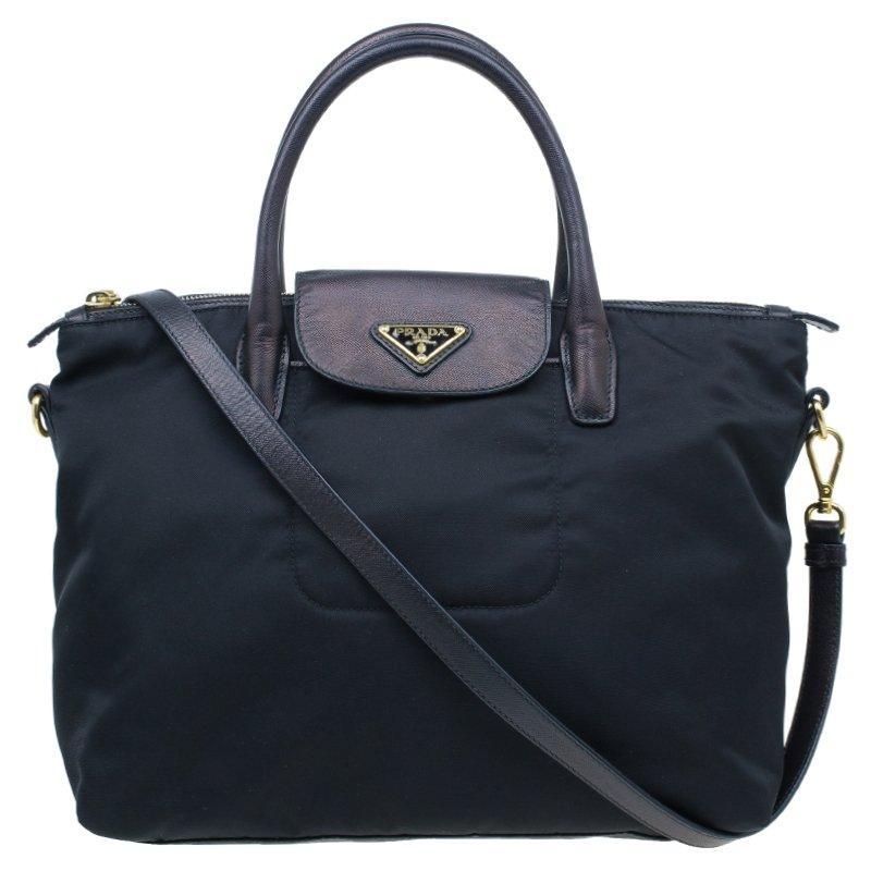 ... Prada Black Tessuto Nylon And Saffiano Leather Tote Bag. nextprev.  prevnext 6f2de0ae4f4af