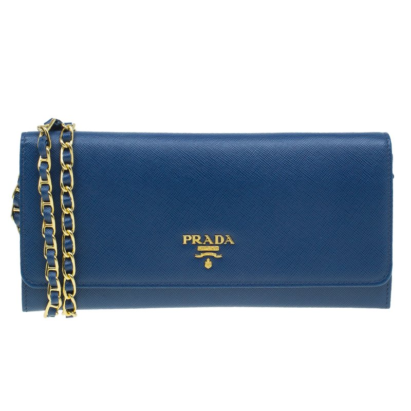50d57daa2ef2 ... Prada Blue Saffiano Leather Metal Oro Chain Wallet. nextprev. prevnext