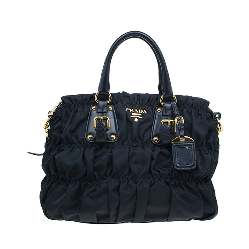 e4dc111a9aafc5 Buy Prada Black Nylon Gaufre Ruched Medium Shopping Bag 47026 at ...