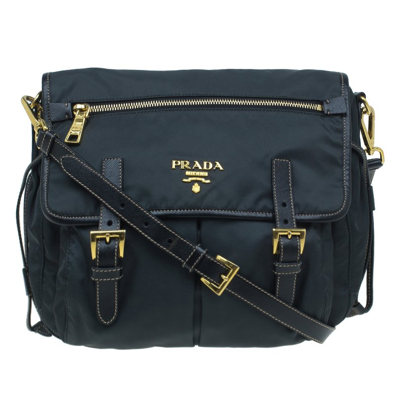 875d9651abb7 Buy Prada Black Nylon and Leather Crossbody Bag 51296 at best price ...