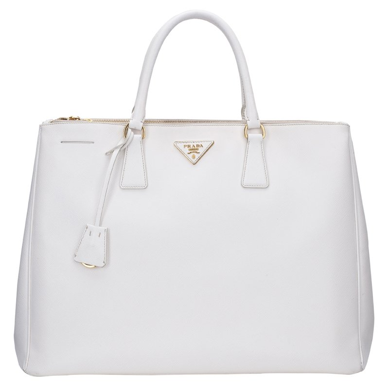 15382a4c4277 ... Prada White Saffiano Lux Leather Double Zip Executive Tote. nextprev.  prevnext
