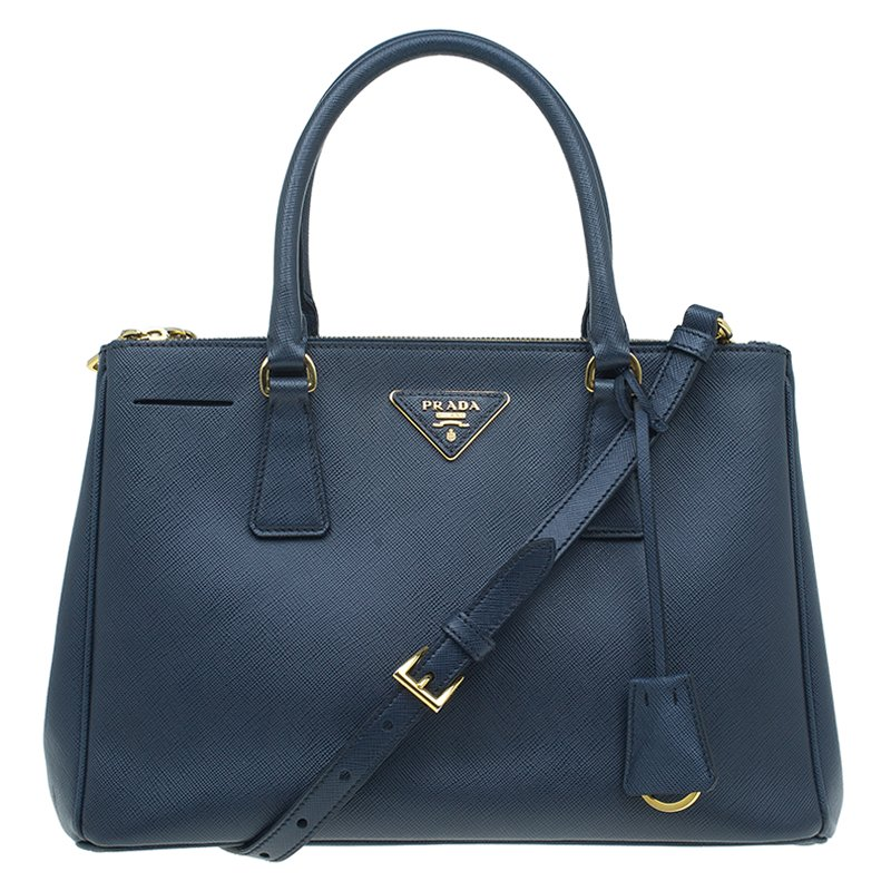 b0ff83c957d87b ... Prada Navy Blue Saffiano Lux Leather Small Double Zip Tote. nextprev.  prevnext