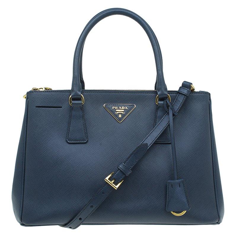 6a230d035d83 ... Prada Navy Blue Saffiano Lux Leather Small Double Zip Tote. nextprev.  prevnext