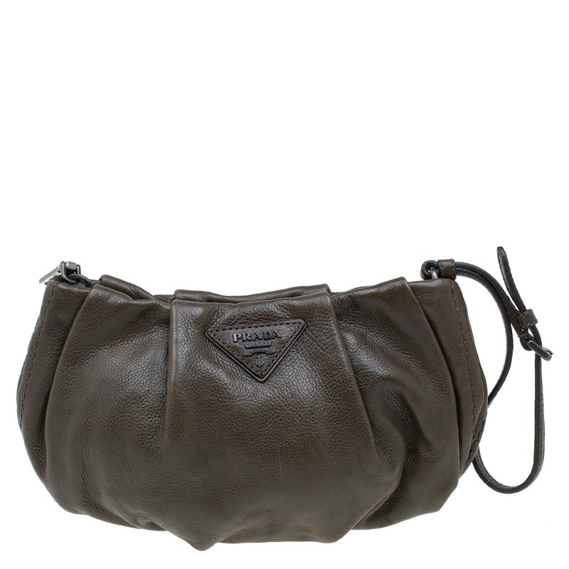 a800f25b2bca Buy Prada Military Green Glazed Leather Ruched Wristlet Clutch 58247 at  best price