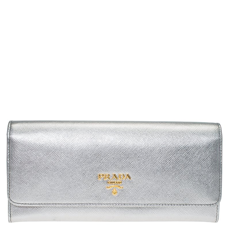 0d81394a0891 ... Prada Silver Saffiano Leather Continental Wallet. nextprev. prevnext