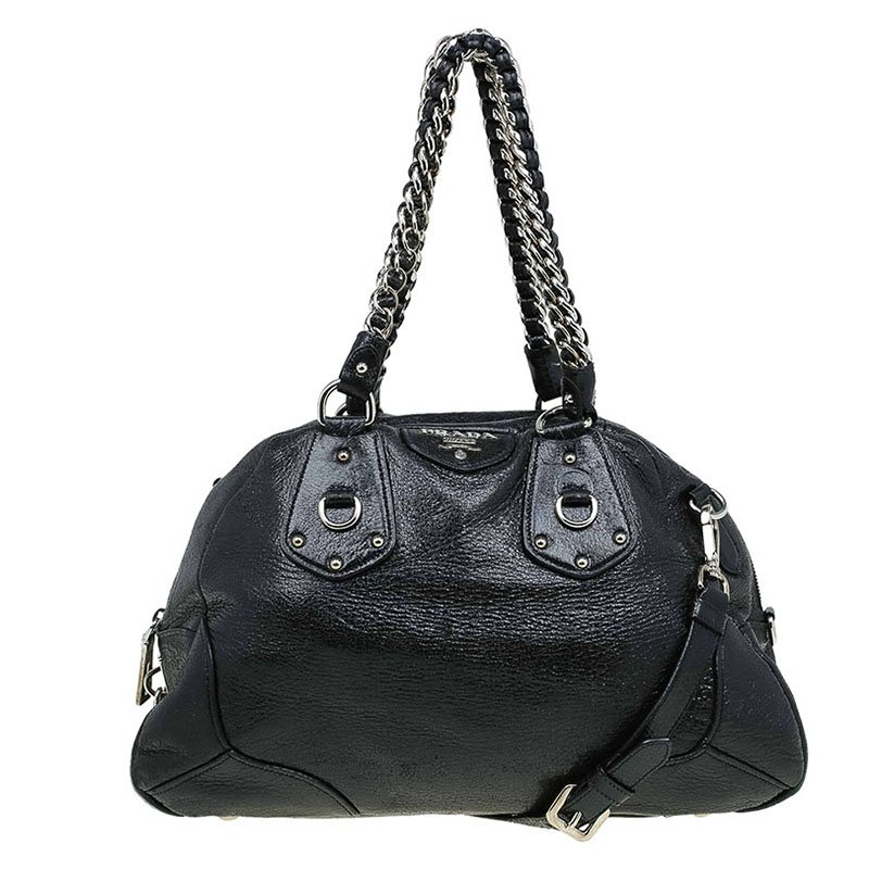 e57ea4f797 Buy Prada Black Cervo Lux Leather Chain Bowling Bag 67036 at best ...