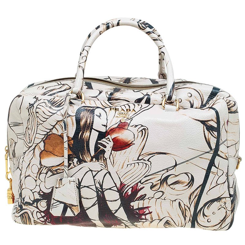 69d50f1ae764 Buy Prada Beige Astro Cervo Lux Leather Limited Edition Print Fairy ...