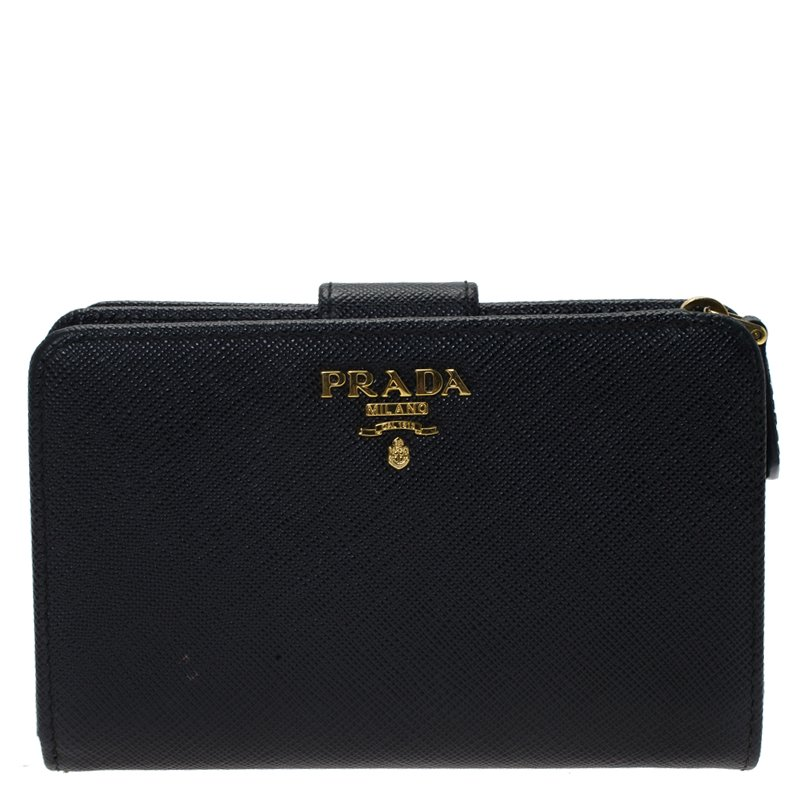 97801158256c Buy Prada Black Saffiano Leather Zip Around Compact Wallet 74178 at ...