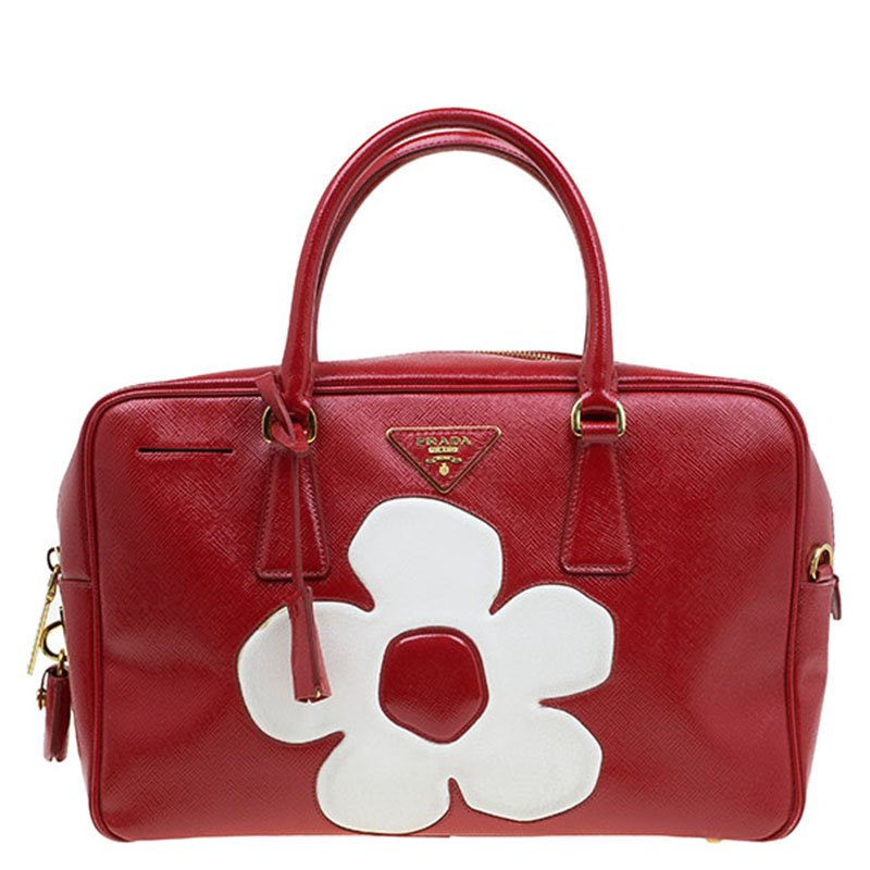 a0ff502f4bf1df Buy Prada Red and White Saffiano Vernice Patent Leather Bauletto ...