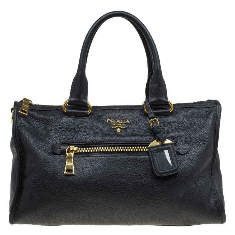 8657d897366c Buy Prada Black Vitello Daino Leather Satchel 79823 at best price | TLC