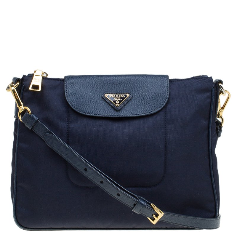 55f464e421a8 ... Prada Blue Nylon/Saffiano Leather Crossbody Bag. nextprev. prevnext