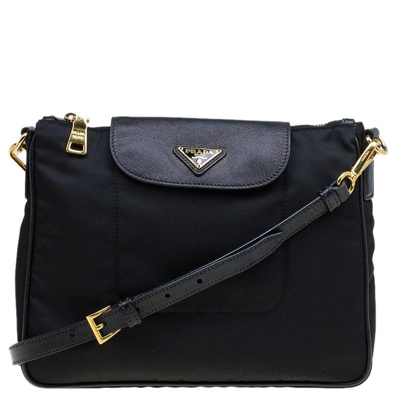 079e2e0f6146 ... Prada Black Nylon Saffiano Leather Crossbody Bag. nextprev. prevnext