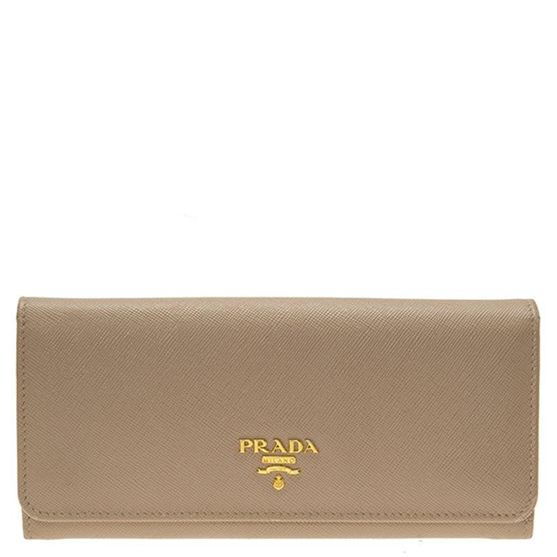 Prada Beige Saffiano Leather Continental Wallet