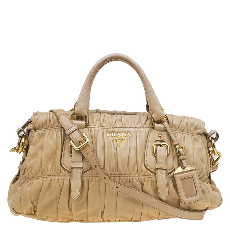 3a5c19b1e3ee Buy Prada Beige Nappa Gaufre Leather Satchel 81334 at best price