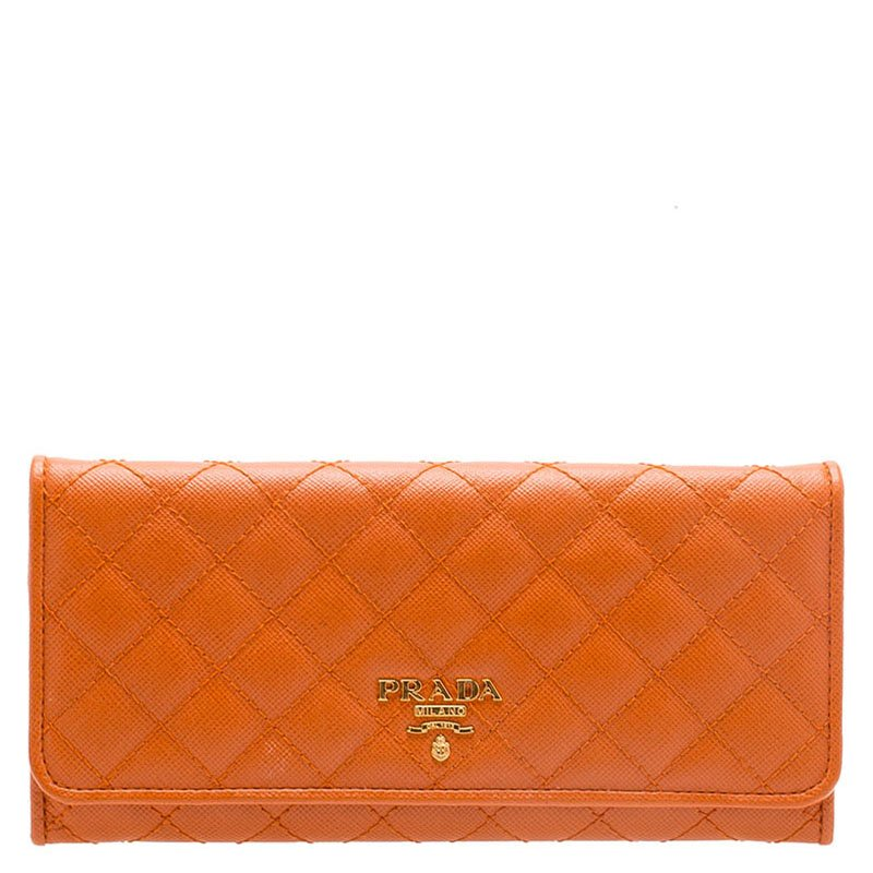 07c6e57ecc19 ... Prada Orange Quilted Saffiano Leather Continental Wallet. nextprev.  prevnext